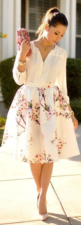 skirt floral skirt romantic spring blouse cream blouse floral skirt.