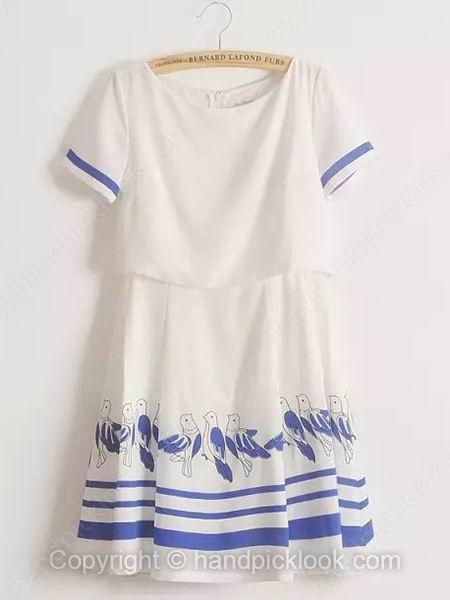 White Round Neck Short Sleeve Bird Print Chiffon Dress - HandpickLook.com