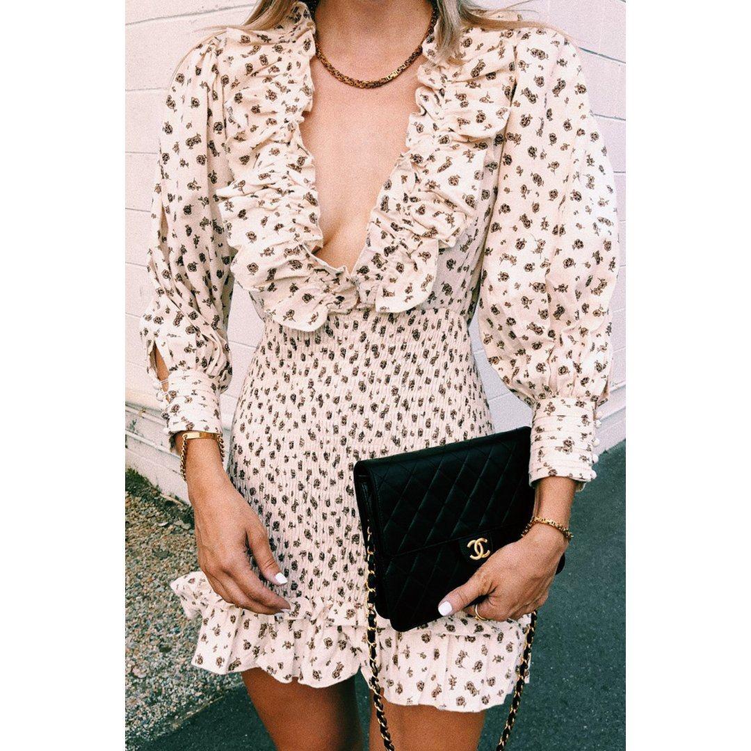 VG On Film Shirred Frill Mini Dress // Floral