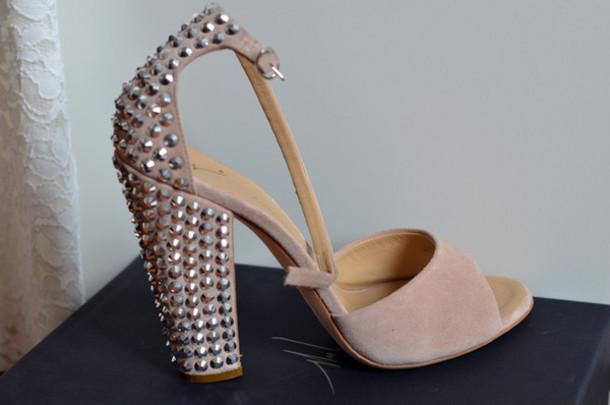 beige shoes glitter studs