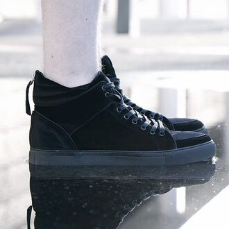 shoes maniere de voir sneakers trainers velvet suede jet black mid top virtue