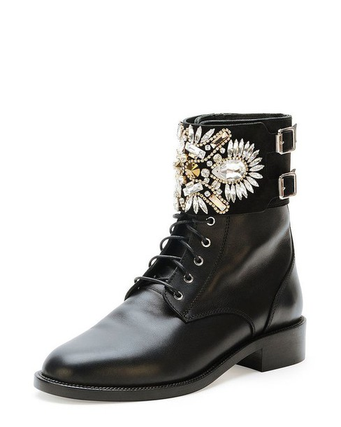 Shoes: boots, combat boots, black, gold, ankle boots, studs, flats ...