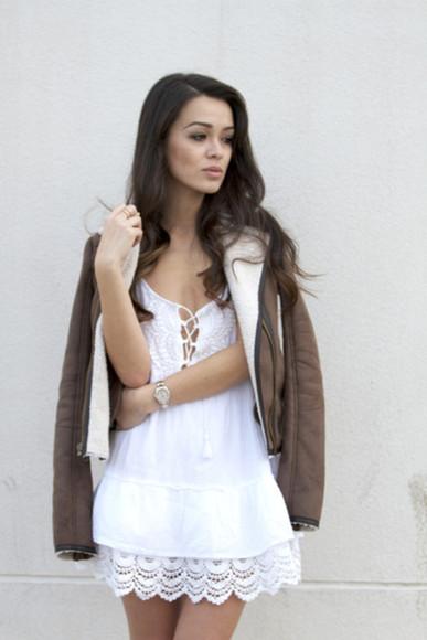 boho hippie white lace dress babydoll dress dress