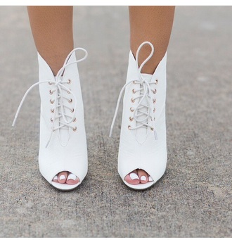 high heels shoes white white high heels style fashion peep toe boots white shoes