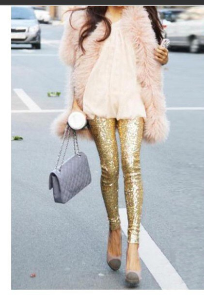 leggings gold leggings style outfit lookbook store jacket shirt