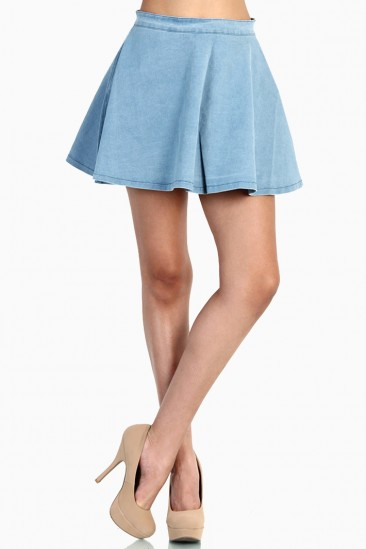LoveMelrose.com From Harry & Molly | Light Denim Skater Skirt