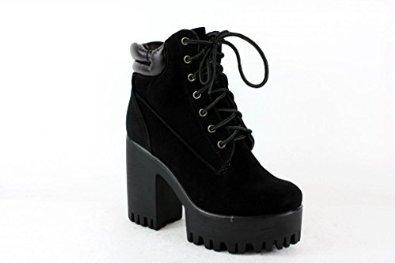 Kukubird faux leather chunky heels platform designer high cut ankle boots women's shoes: amazon.fr: chaussures et sacs