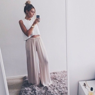 pants shirt jumpsuit pink pants white top casual casual outifit casual pants tumblr outfit tumblr top tank top