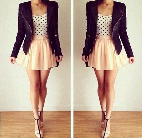 skirt peach polka dots leather jacket
