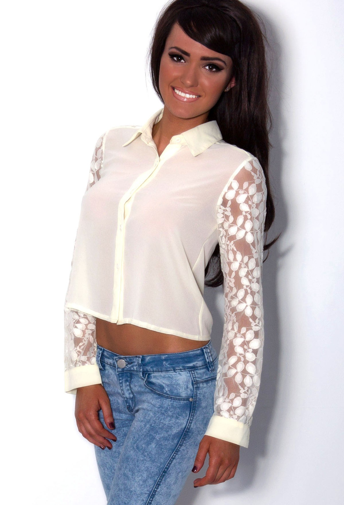 Syracuse Cream Cropped Lace Sleeve Blouse | Pink Boutique