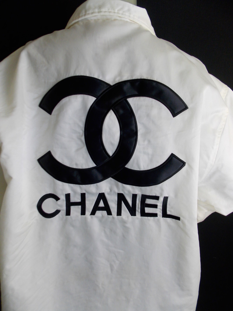 Chanel Boutique White with Black Logo's Windbreaker Jacket Size XL or 1x | eBay