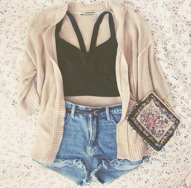 Blouse cardigan crop tops high waisted shorts black crop top summer outfits sweater top ...