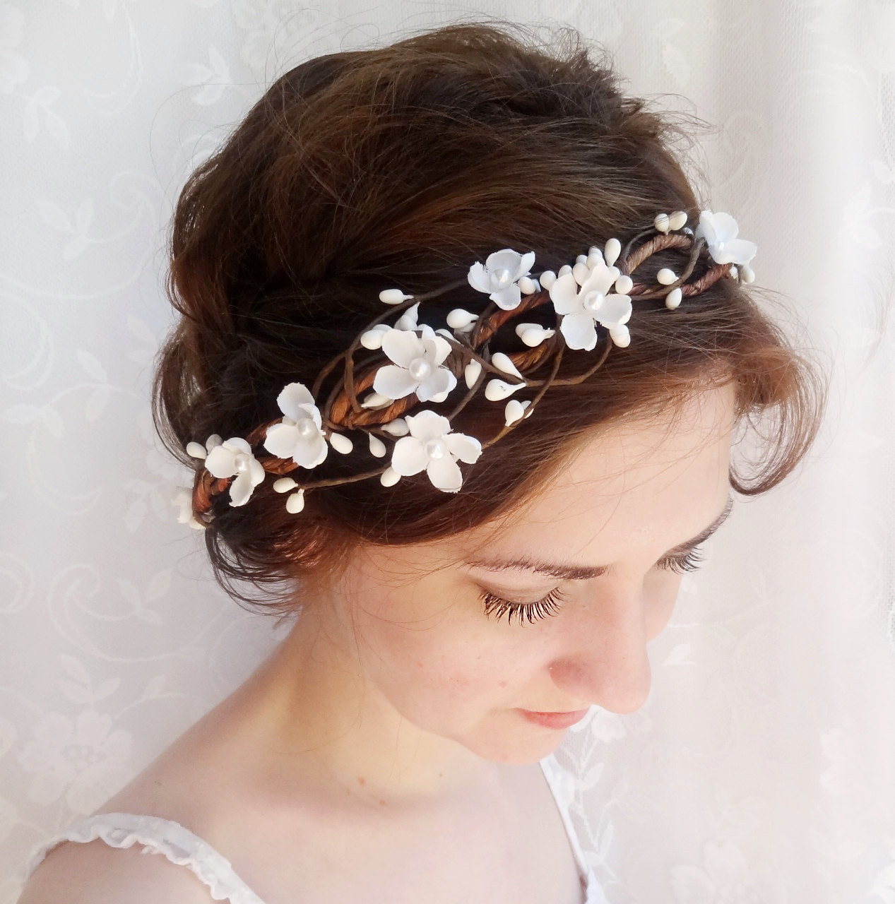 Bridal hair accessories wedding flower headpiece white flower bridal hair accessories wedding flower headpiece white flower crown circlet whimsy rustic wedding flower crown mightylinksfo