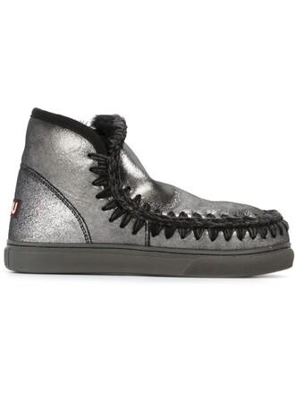 metallic women boots black wool shoes