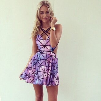 dress geometric pink cool hipster galaxy print cute dress cut-out criss cross cottoncandy wedding