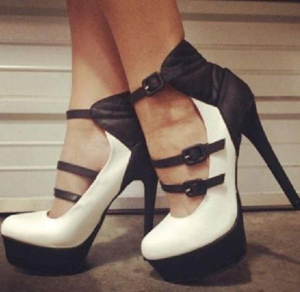 shoes pumps heel women cool cute love amazing black and white stilettos mary jane high heels halloween