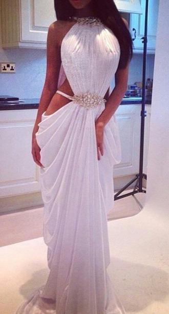 dress white dress maxi dress prom dress evening dress cut-out dress side cut out dress white gold gold low cut dress