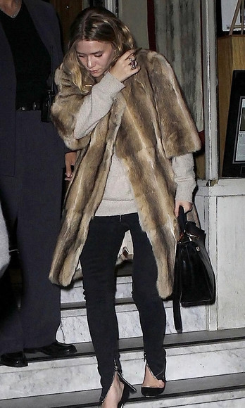 coat fur sweater ashley olsen olsen sisters fall outfits