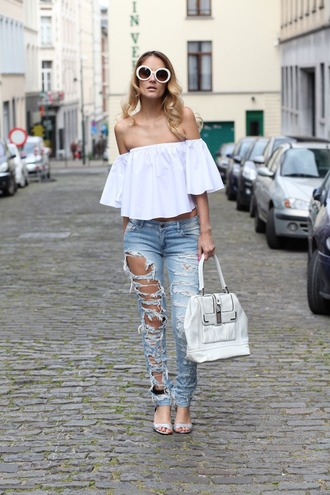 from brussels with love blogger top jeans shoes bag sunglasses