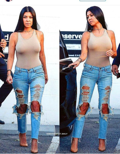 Kourtney Kardashian Wears Nude Bodysuit and Ripped Jeans