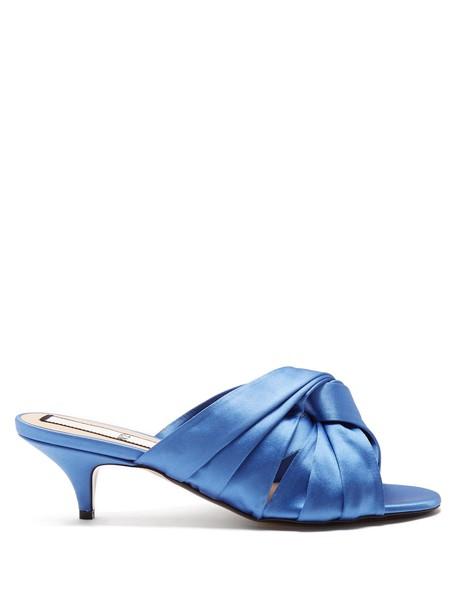 open mules satin blue shoes