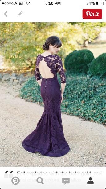 dress purple prom gown lace dress