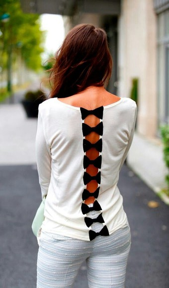 bows shirt bow open back shirt cute shirt blouse