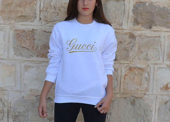 Gucci Sweatshirt Inspired Gucci Logo Gold Print For By