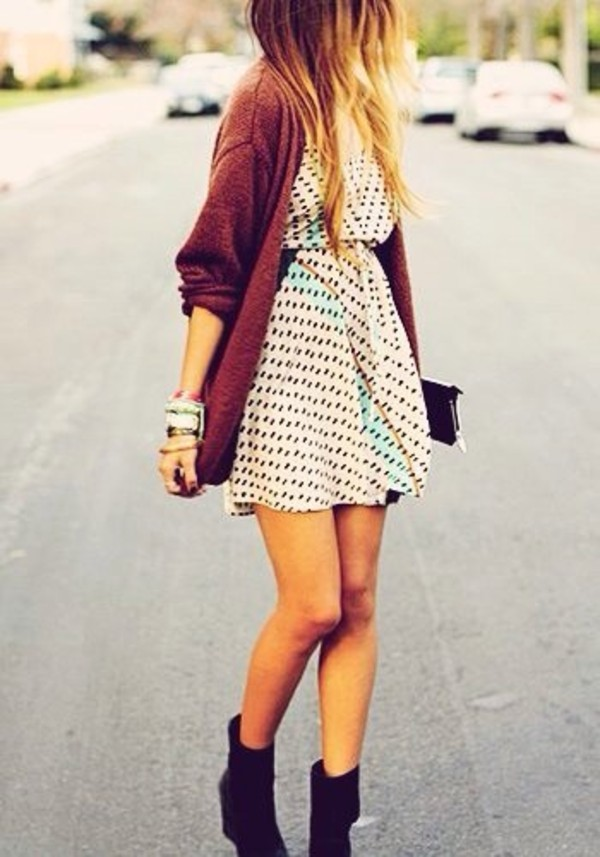 dress cute dress cute polka dots dress polka dots black dots little white dress blonde hair black and white girly skater dress a-line a line dress jacket burgundy sweater cardigan fall outfits comfy boots bracelets