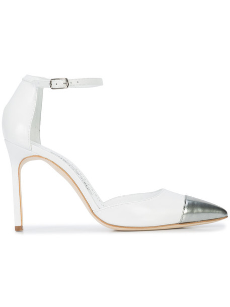 Manolo Blahnik women pumps leather white shoes