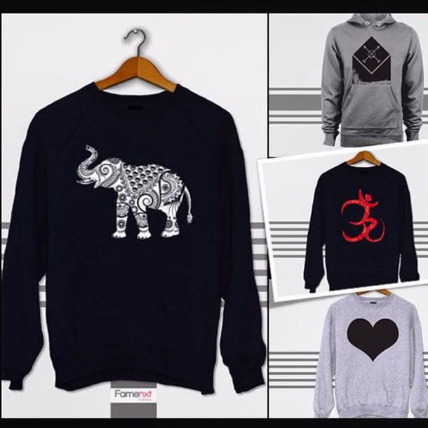 592002972466e sweater famenxt tumblr tumblr outfit elephant boho bohemian sweatshirt  hoodie heart