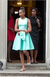 dress,blue dress,summer dress,turquoise,teal,light blue,Obama family,nude shoes,mint dress,zappos