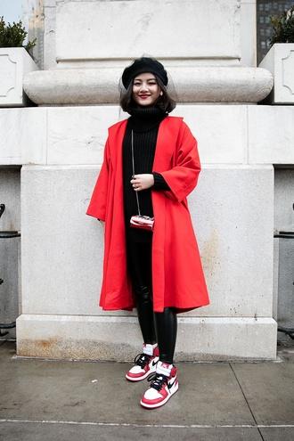 coat nyfw 2017 fashion week 2017 fashion week streetstyle red coat black sweater sweater tumblr turtleneck turtleneck sweater sneakers nike nike shoes leggings black leggings leather leggings beret mini bag