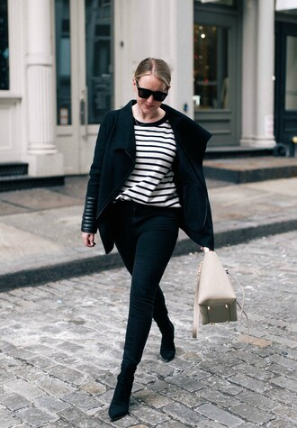 wit&whimsy blogger jacket jeans shoes sweater bag sunglasses skinny jeans striped top winter outfits