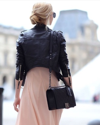 jacket black leather jacket black jacket pink dress chanel bag shoulder bag spring outfits hair aviator sunglasses sunglasses blogger