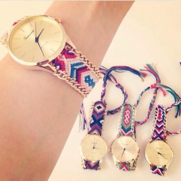 braided watch jewels watch threaded multi-color woven multicolour gold aztec material pattern colour geneva