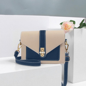 Midnight Blue and Beige Small Flap Over Envelope Crossbody Purse