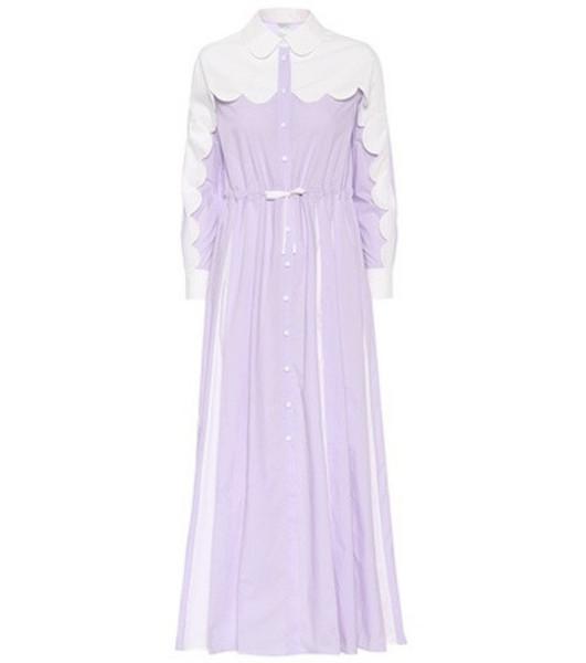 Huishan Zhang Scalloped maxi shirt dress in purple