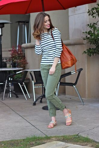 shoes jeweled sandals sandals flat sandals blush pink sandals pants green pants top striped top bag brown bag