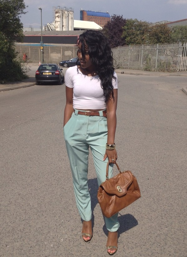 pants teal high waisted pants