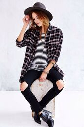blouse,jeans,clothes,t-shirt,black and white,hat,black hat,shirt,flannel shirt,denim jacket,denim,denim shorts,denim overalls,denim vest,ripped jeans,black jeans,high waisted jeans,skinny jeans,boyfriend jeans,blue jeans,white ripped jeans,light blue jeans,outfit,outfit idea,fall outfits,tumblr outfit,lookbook,streetwear,street goth,streetstyle,flannel