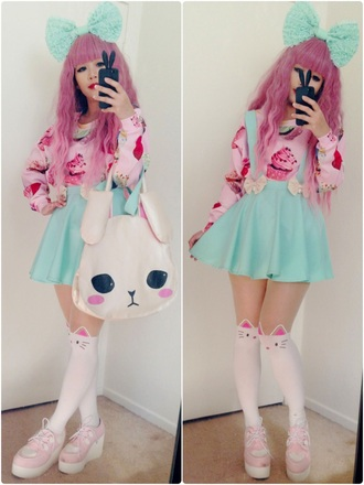 shoes kawaii pastel style fashion tights skirt sweater bag jewels kawaii bag