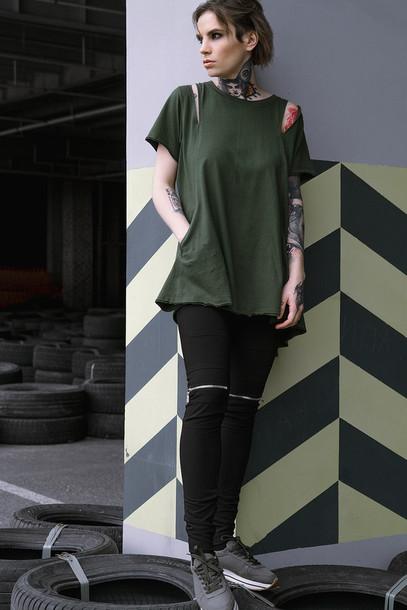 T-shirt flare khaki khaki t-shirt urban urban chic outlet urban wear grunge grunge t ...