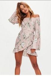 dress,girly,girl,girly wishlist,off the shoulder,off the shoulder dress,floral,flowers,floral dress