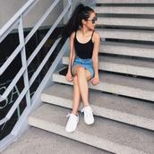 skirt,tumblr,mini skirt,denim skirt,top,black top,cami top,spaghetti strap,sneakers,white sneakers,low top sneakers,sunglasses,summer outfits,summer top