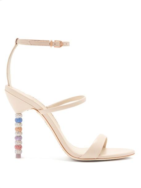 Sophia Webster heel embellished sandals leather sandals leather nude shoes