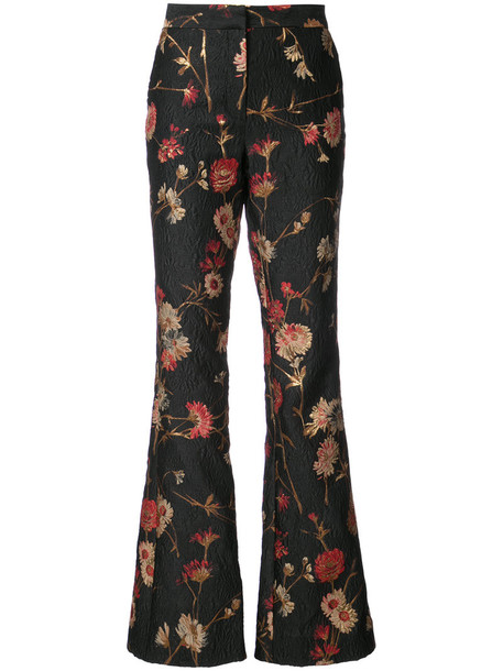women floral black silk pants