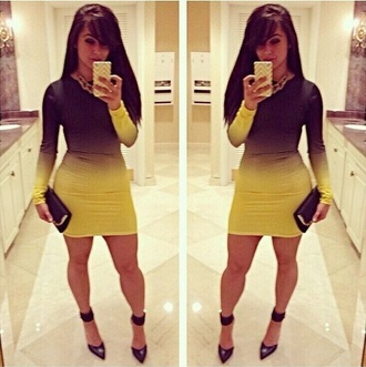 dress black and yellow bodycon dress make-up ombre dress mini dress bodycon long sleeve dress long sleeves baddies black girls killin it bad bitches link up