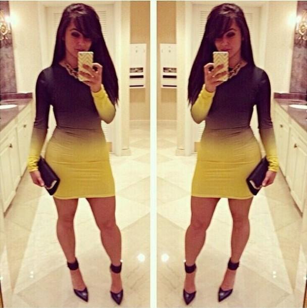 dress black and yellow bodycon dress make-up ombre dress mini dress bodycon long sleeve dress long sleeves baddies black girls killin it bad bitches link up