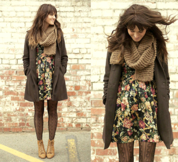 shoes winter outfits tights coat dress underwear scarf floral winter sweater winter coat cute winter time winter dress boots tied skater dress heels heel boots mid heel boots floral dress brown coat brown trench coat
